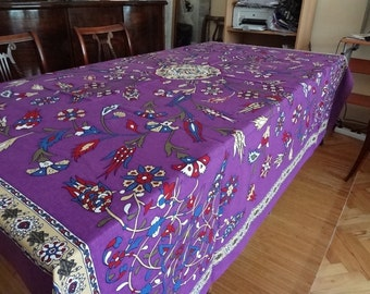 Square Tablecloth with classical Turkish motif - cotton - purple - boho - picnic