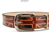 Leather dog collar -  1 inch Union Jack collar - cool dog collar