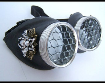 Black Leather, Sci-fi clothing, Goggles - Large Bee, clear  Lens, Honeycomb