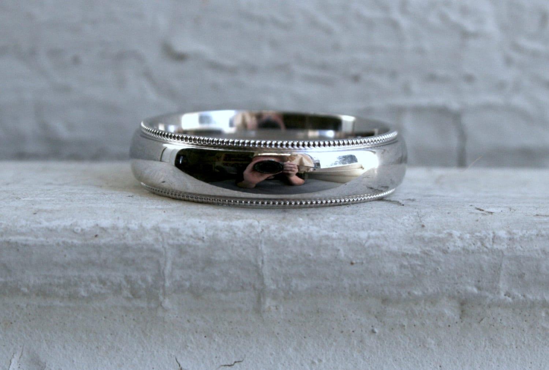 Classic men39s vintage 14k white gold beaded edge wedding for Mens vintage wedding ring