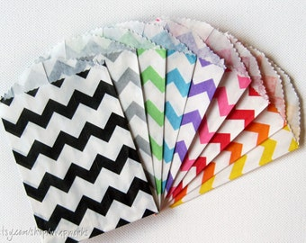 75 Chevron Stripe Bitty Bags - You pick the colors - Paper Favor Bags