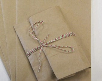 100 Small 3 1/2 x 5 1/4 Brown Kraft Favor Bags,  Flat Pinch Bottom, Stampable