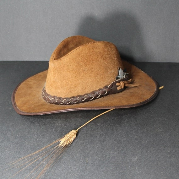 Vintage Leather Cowboy Hat Handmade By San Zeno In CA