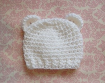 White ribbed bear hat/ Newborn hat/ Bear hat