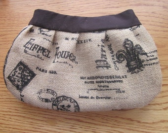 Burlap Buttercup Clutch, Purse, burlap bag, burlap purse, France, Eiffel Tower, Paris