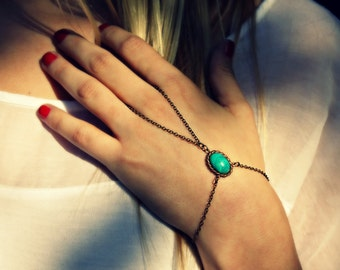turquoise green slave bracelet, turquoise hand chain, bracelet ring, ring bracelet, boho bracelet,  hipster bracelet, slave ring
