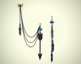 ear cuff with arrow and feather earrings, chains ear cuff, feather ear cuff, arrow head earrings, tribal earrings