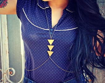 triangle body chain in antique brass, chevron necklace, triangle necklace, unique necklace, statement necklace