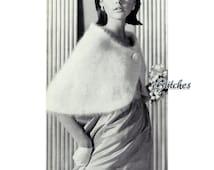 1950s Angora Formal Wrap, Shoulder Cape or Capelet  -  Knit pattern PDF 8518