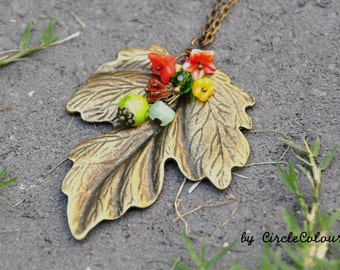 Leaf Necklace - Beautiful Leaf with Colourful Beads Dangle Long Necklace - Antique Bronze Chain Necklace