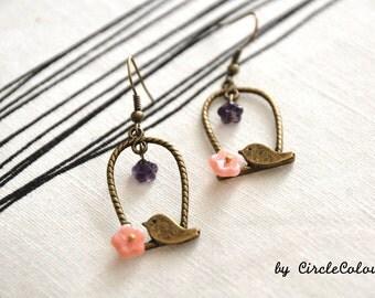 Bird Cage Earrings - Bird Cage & Flower Dangle Earrings - Antique Bronze Earrings Hook