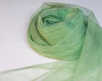 Tulle Net Scarf  with Rhinestones - Sea Green - Long Scarf - Fashion 2013