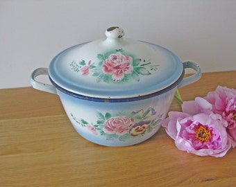 enamel cooking pot - large antique French cooking pan with hand painted flowers