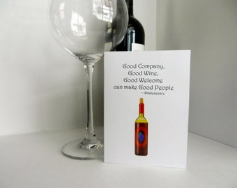 Wine Handmade Greeting Card perfect for gifting wine - thank you, hello, thinking of you, hostess gift, girlfriend or any greeting