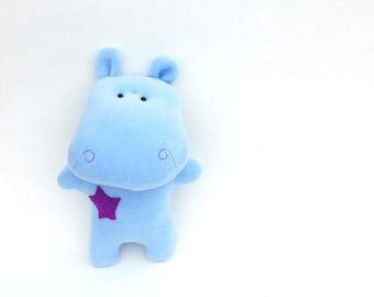 Plush toy Hippo Toy for kids Blue Stuffed animal toy for kids