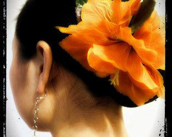 Flamenco, tribal, belly dance, hula dance, burlesque, orange Gladiolus flowers hair clip or brooch with alligaor clip