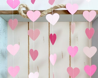 Pink, Light Pink, Hot Pink 10 ft Heart Paper Garland- Wedding, Birthday, Bridal Shower, Baby Shower, Party Decorations, Valentine's Day