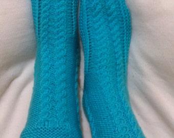 Hand Knitting Home Socks / Handmade Light Blue Color Socks / Handmade Knit Woman Socks