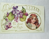 Antique Valentine Postcard Purple Flowers Violets and Girl