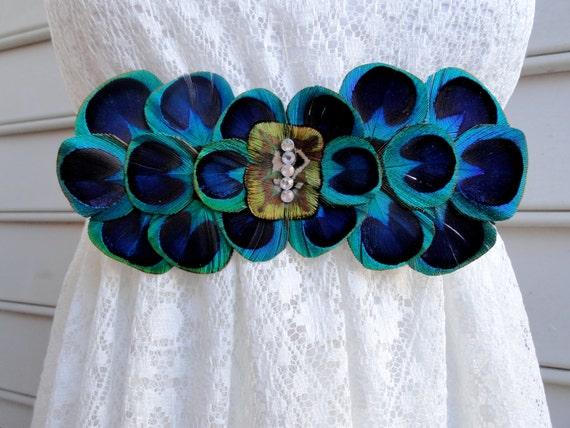 Lola peacock feather flower bridal wedding sash for Peacock wedding dress sash