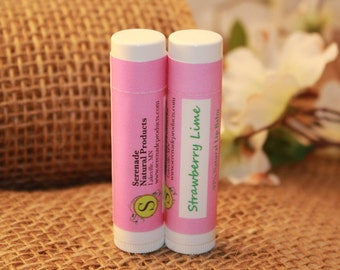 2 Tubes - Strawberrry Lime Shea Butter &  Beeswax Lip Balm