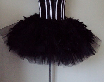 Black Swan Lake tutu skirt with Feathers  US size 6 - 10 UK size 6 - 12