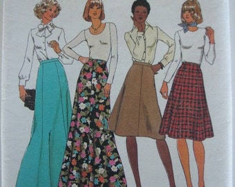 1970's Sewing Pattern - Simplicity 7308 Maxi and midi skirt in two lengths Size 14