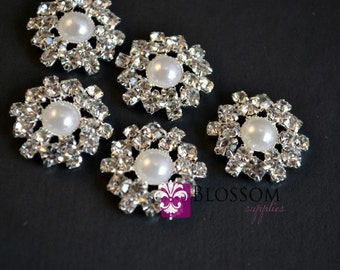 FLATBACK Metal Rhinestone Buttons Crystal Clear 18mm - Flower Centers - Wedding Bridal Prom Jewels - Vintage Inspired Silver Settings