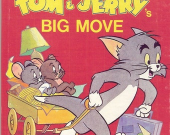 Tom & Jerry's Big Move Vintage Golden Tell A Tale Book Illustrated by Joe Messerli 1985