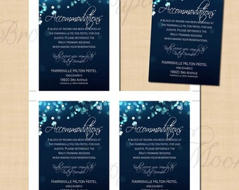 Midnight Blue Night Sky Wedding Accommodations Inserts (3.5x5, Portrait): Text-Editable, Printable, Instant Download