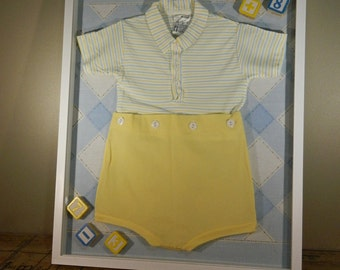 Vintage Shadow Box / Baby Boy Decor / Blue and Yellow Decor