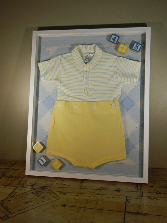 Items Similar To Vintage Shadow Box Baby Boy Decor Blue And Yellow Decor On Etsy