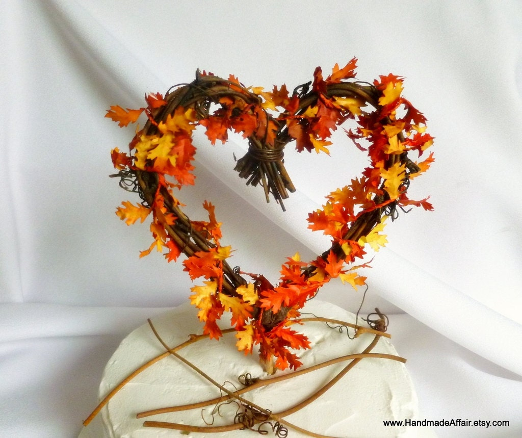 Rustic cake topper fall wedding decorations for Autumn cake decoration