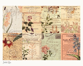 Vintage Botanical ATC backgrounds Collage Sheet Printable Instant Digital Download File