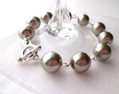 Chunky Silver Taupe Pearl Bracelet