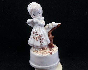 Musical Figurine Girl Playing the Flute with Birds Music Box You Light Up My Life