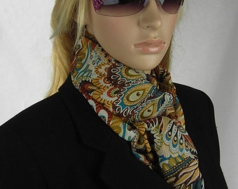 Lightweight Scarf Tribal - feathers - gold threads - chiffon