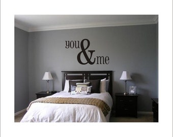 You & Me Large Vinyl Wall Decal Housewares Home Decor Master Bedroom 22x38