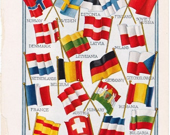 Continental Europe Flags 1920's Dictionary Illustration