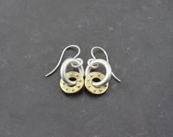 Halle Sterling Silver & Brass Earrings