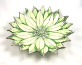 Green Poinsetta Pottery Plate / Shallow Bowl