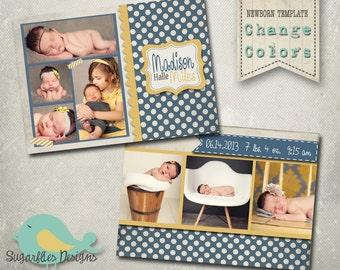 Baby Girl Announcement PHOTOSHOP TEMPLATE - Baby Girl Sailor