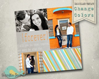 Photography Collage Template Blog Board 12x12 - Collage 7