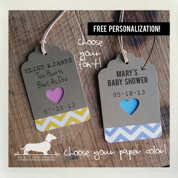 Chevron Heart. Personalized Gift Tags (Set of 12) -- (Modern, Bridal Shower, Wedding, Choose Your Color, Baby Shower, Thank you, Custom)