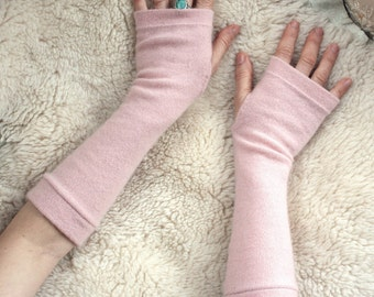 Womans  Rose Cashmere Arm Warmers, Fingerless Gloves - Mittens. Cashmere gift for her, Present for her