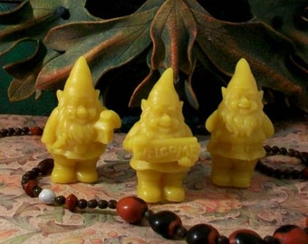 3 Gnome Small Woodland Gnomes Beeswax Candles