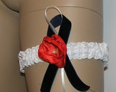 WHITE LACE GARTER red flower rose navy blue velvet bow wedding bridal toss garter