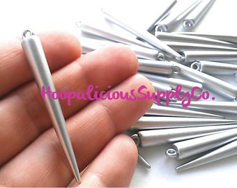 25 LARGE MATTE SILVER Spike Beads with Top Loop- 52mm- Fast Shipping- From Usa-with Tracking Included
