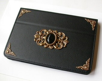 Mini iPad Leather Black Case  -  Magnetic Closure Book Case  - Victorian Gothic iPad Accessories
