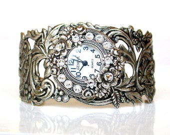 Silver Women Wrist Watch Vintage style watch for woman Victorian Gothic ladies watches Victorian Gothic Jewelry